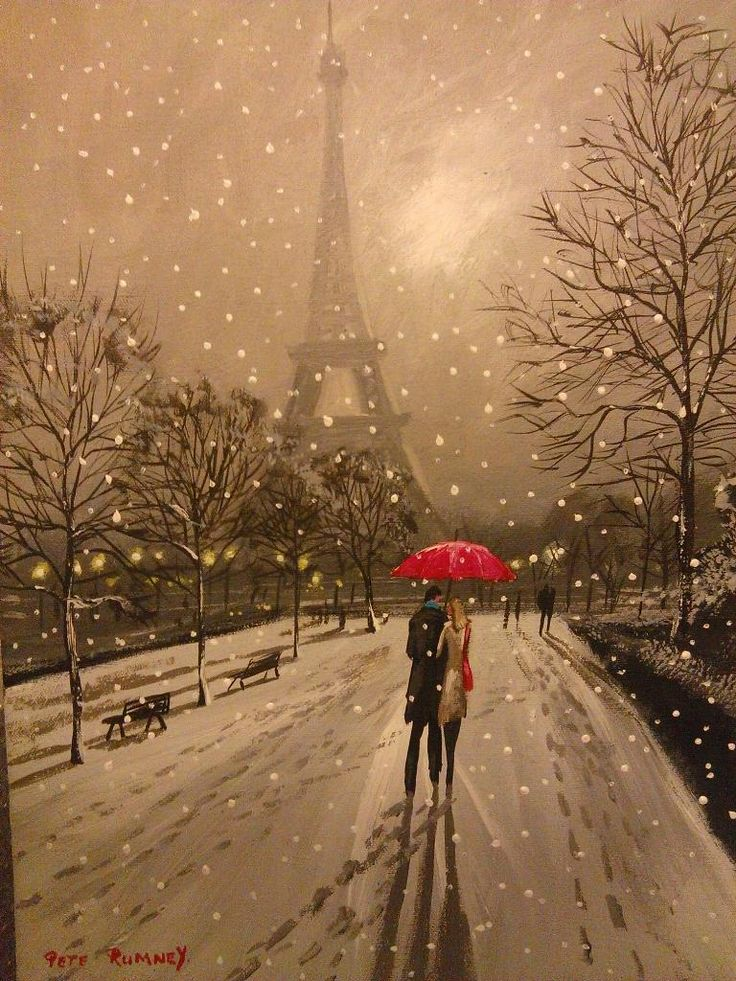 """""""@Pete_Rumney: This is with the snow, ill upload to auction tonight #art #Paris #love """" RT Singing in the Rain"""
