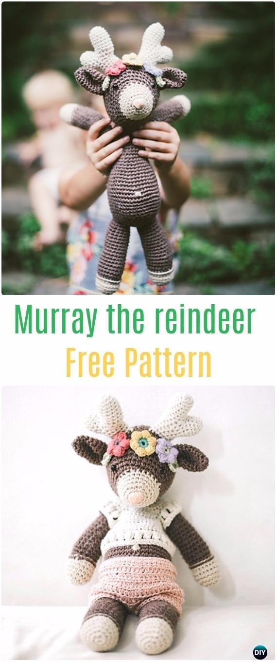 Crochet Murray the reindeer Free Pattern - Crochet Amigurumi Deer Toy Softies Free Patterns