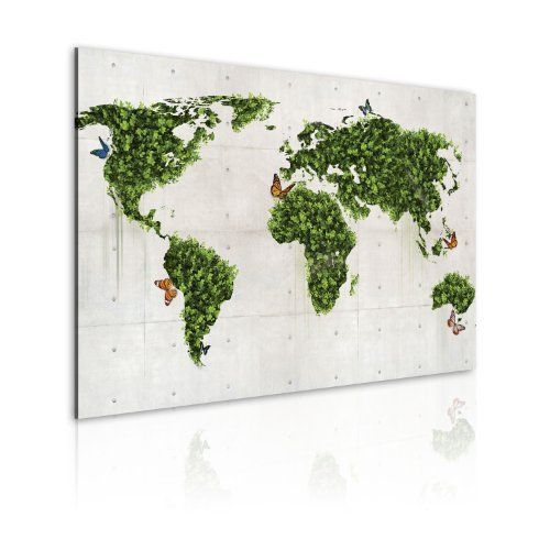Bilder 90x60 cm - XXL Format - Fertig Aufgespannt - TOP - Vlies Leinwand - 1 Teilig - Wand Bild - Kunstdruck - Wandbild - Weltkarte 020113-53 90x60 cm günstig und sicher online bestellen!
