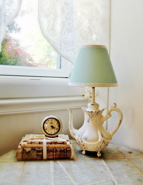 Vintage Teapot Lamp - Distressed Antique White with Mint Lamp Shade on Etsy, Sold