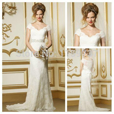 Новое поступление длинный белый / слоновая кость короткими рукавами кружева свадебные платья свадебные платья нестандартного размера цвет новое поступление