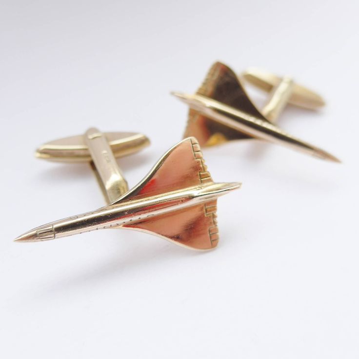 SUPERSONIC! Solid Heavy 9ct Gold Concorde Cuff links Hallmark 1970 UK  001 Transatlantic Flight  Pilot Aviation Cuff links Plane by rubyandjules on Etsy