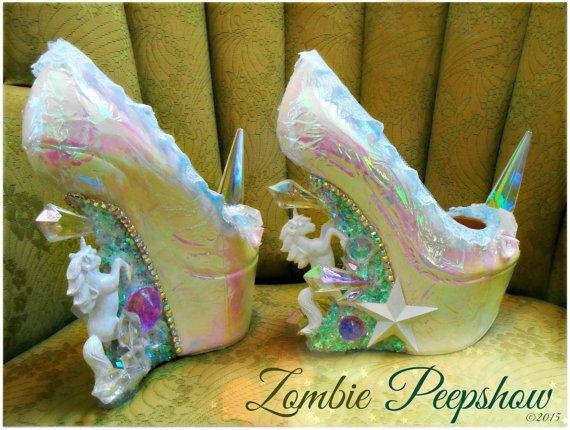 Unicorn Pegasus Crystal Spike Heelless Wedges by kaylastojek