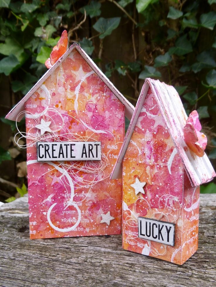 Watercolour Mixed Media Tim Holtz Tiny Houses at Words and Pictures