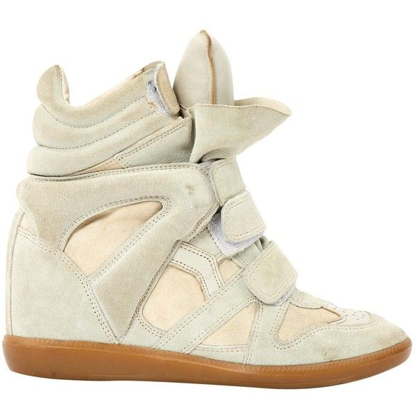 Pre-owned Isabel Marant Beckett Trainers ($185) ❤ liked on Polyvore featuring shoes, sneakers, beige, women shoes trainers, beige shoes, hidden platform sneakers, beige platform shoes, suede platform sneakers and isabel marant sneakers