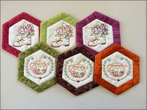 Coasters made in the hoop.