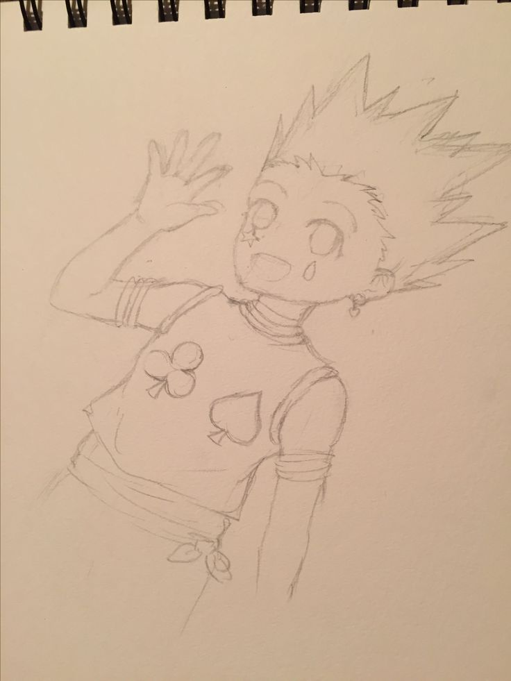 Gon wearing Hisoka's clothes