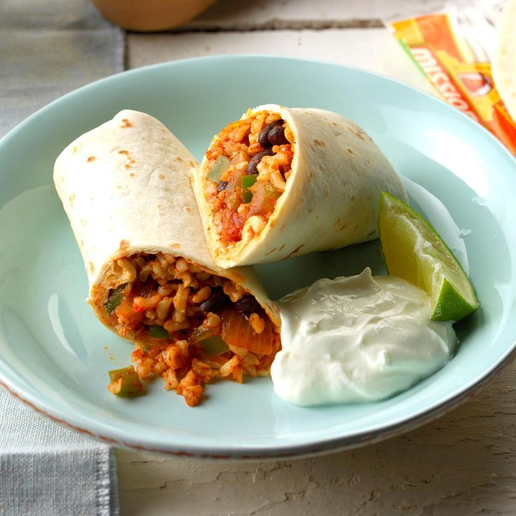 Quick Bean and Rice Burritos Recipe -Kim Hardison, of Maitland, Florida shares her hearty and zippy burritos that can be whipped up in a jiffy.