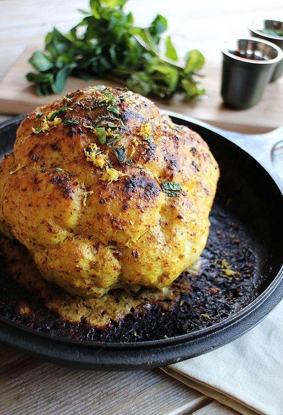Geroosterde bloemkool uit de oven Erg lekker maar volgende keer maar half zoveel citroen nemen