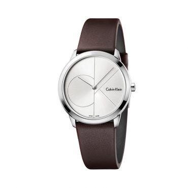 K3M517P4 Γυναικείο quartz ελβετικό ρολόι CALVIN KLEIN Minimal με ασημί καντράν και καφέ δερμάτινο λουρί | Ρολόγια CK ΤΣΑΛΔΑΡΗΣ στο Χαλάνδρι #Calvin #Klein #minimal #λουρι #ρολοι