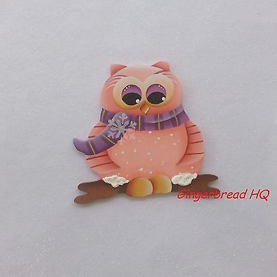 HP Handpainted pink  owl wooden christmas ornament, christmas crafts, winter