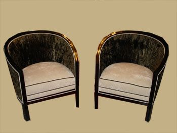 Art Deco armchairs with special upholstery