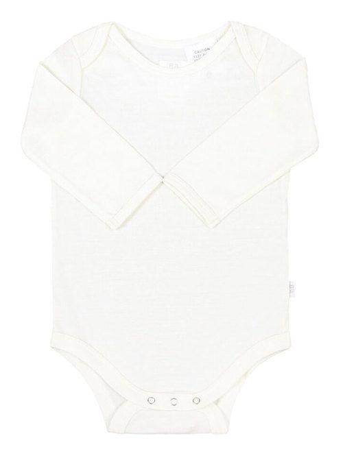 Babu - Cream Merino long-sleeved bodysuit grey stripe