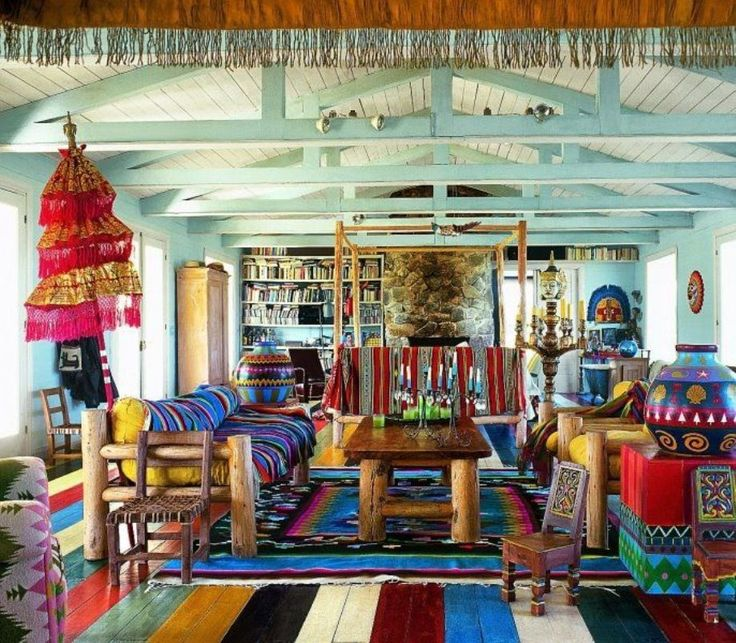 Living Room , Chic Bohemian Living Room : Bohemian Living Room With Wooden  Furniture And Colorful