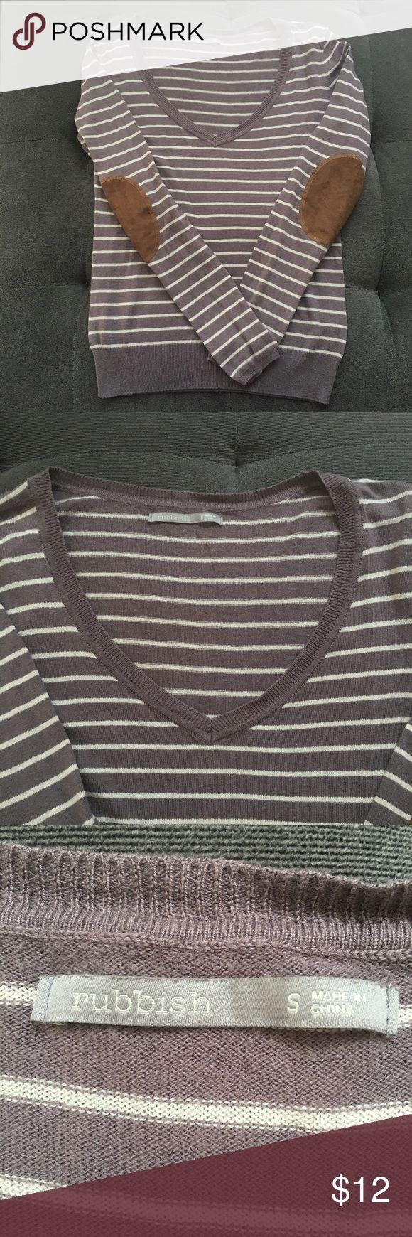 Elbow Patch Pullover Rubbish Pullover. From Nordstrom. Color is a brown/tan with cream stripes. V neck. Size S Rubbish Sweaters V-Necks