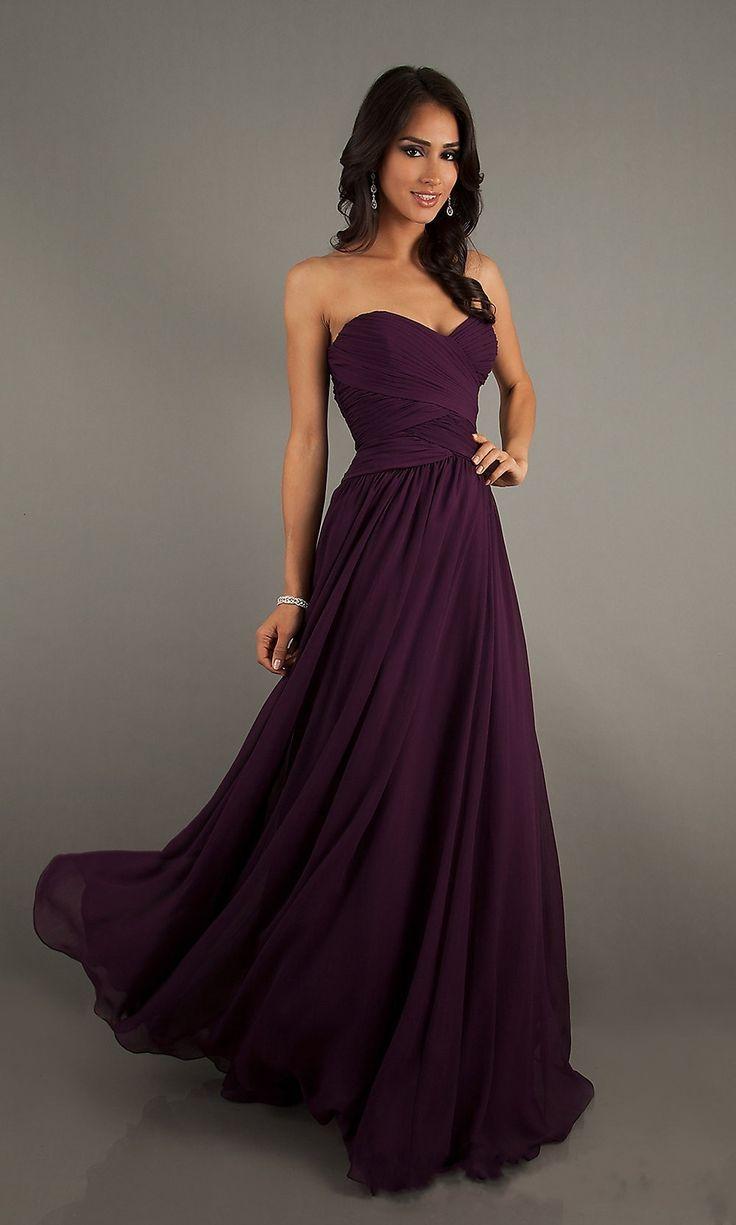 A-Line Sleeveless Floor Length Sweetheart Chiffon Grape Bridesmaid Dress