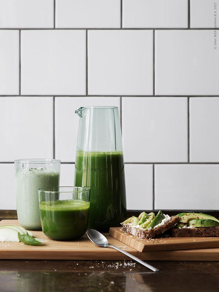 Avokadogrönt, äpplegrönt och mynta… Grönt är skönt, nyttigt och gott och ser bäst ut i INTAGANDE i grönt glas. Go Greenery!