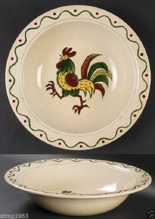 "Metlox Poppytrail Green Rooster 10"" Round Vegetable Bowl with no Lid $19.99"