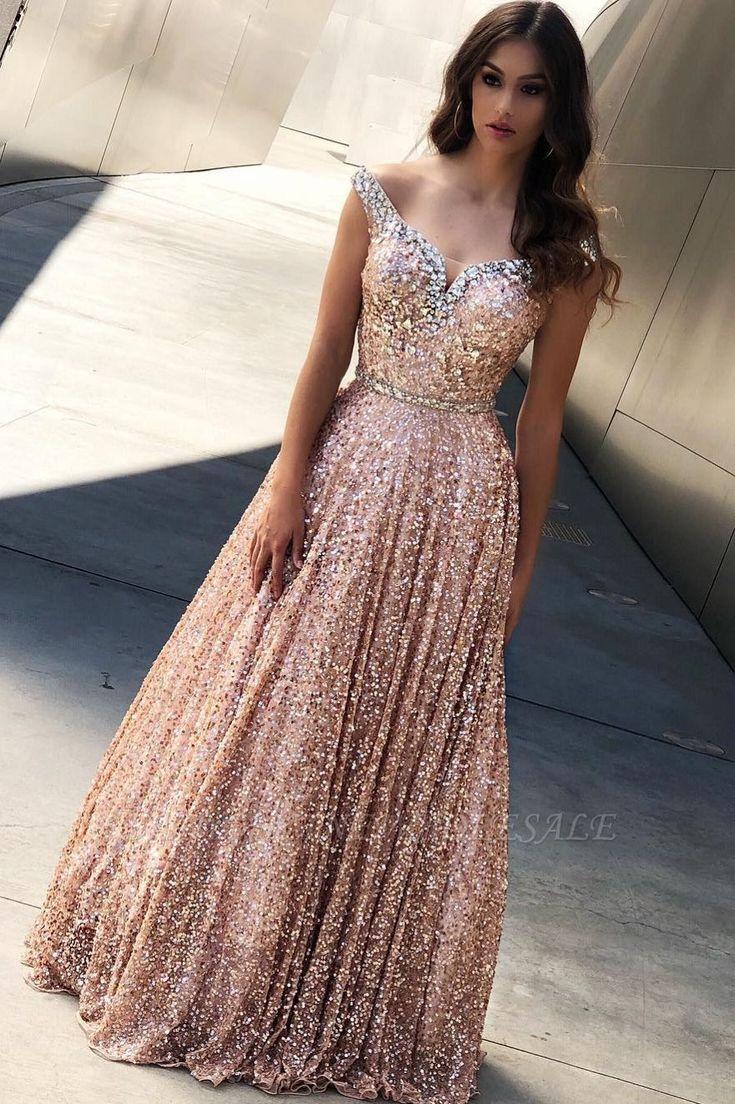 Stunning V Neck Sleeveless Blush Pink Satin Prom Dresses with