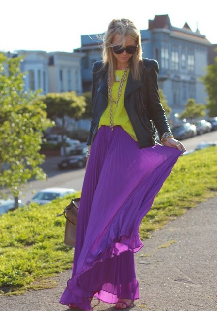 Mixing bright colors, long flowing skirts, layered jewelry!