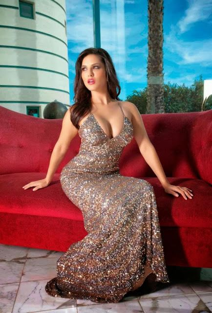Sweet and Hot GirlSunny Leone look so sweet in silver Gown