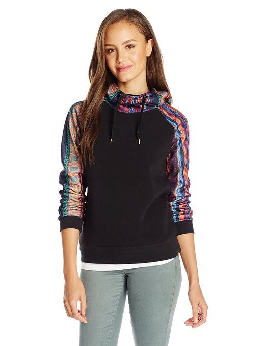 Southpole Juniors' Printed Fleece Hooded Sweatshirt with Solid Body
