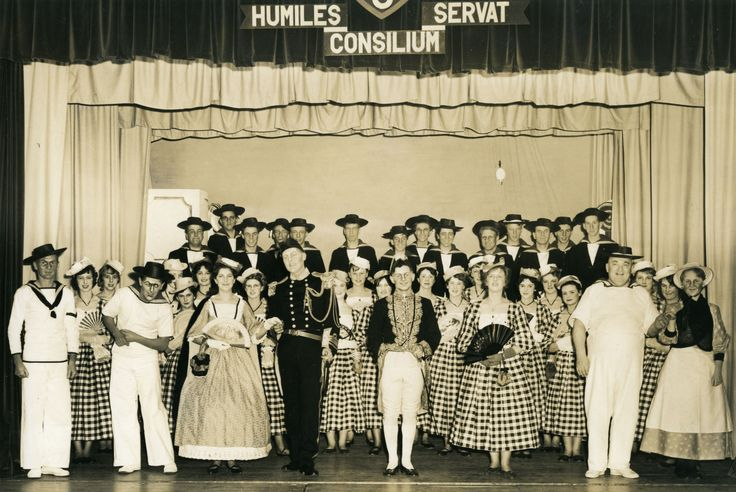 An old photo of the cast of Helston Grammar School's 1962 production of HMS Pinafore. The set was designed by Art Teacher, Phillip Howells. Photograph by Wallace A S Fuggle of Helston.