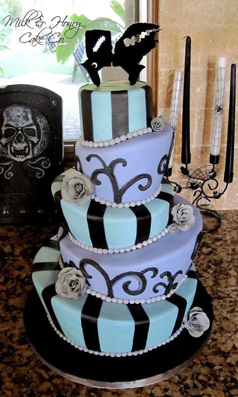 halloween wedding cake topsy turvy mad hatter tiers bride of frankenstein - Tim Burton Halloween Decorations
