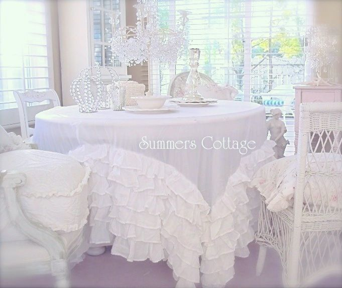 Dreamy White Bedskirt turned into a Tablecloth