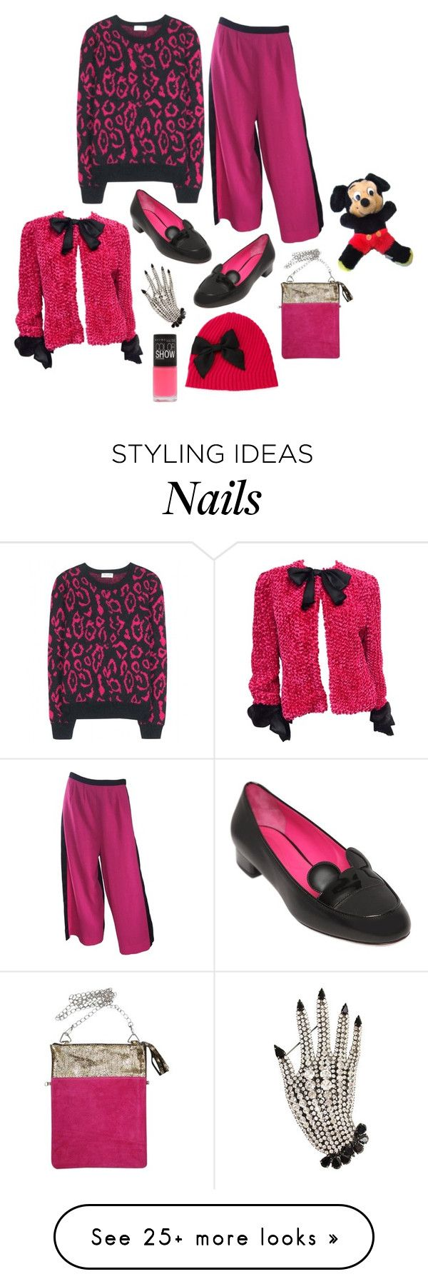 """""""Disney black and pink"""" by perpetto on Polyvore featuring Bill Blass, Yves Saint Laurent, Oscar Tiye, Kate Spade, Butler & Wilson, Disney, Maybelline, women's clothing, women's fashion and women"""