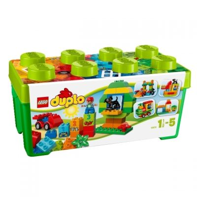 Mit der grossen Duplobox in die Legowelt starten.