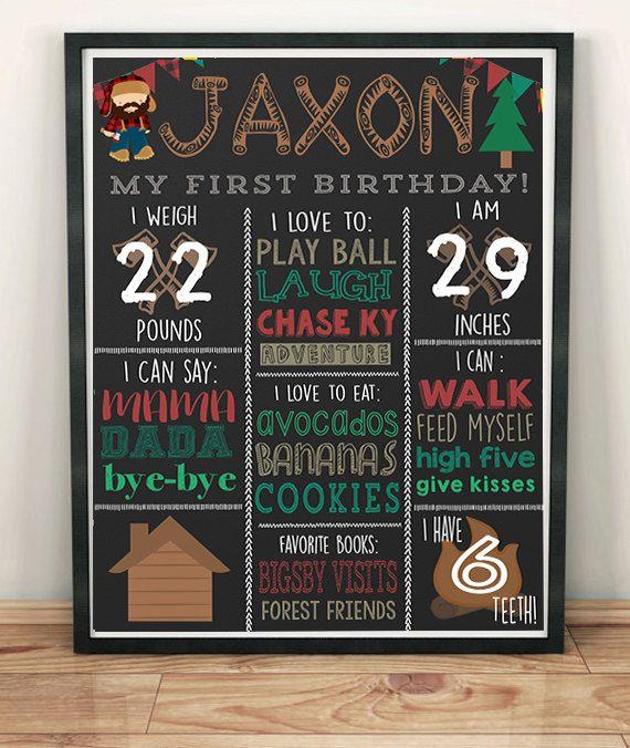 Lumberjack Birthday Chalkboard Autumn Birthday Ideas WInter Birthday Ideas Cottage Birthday Theme
