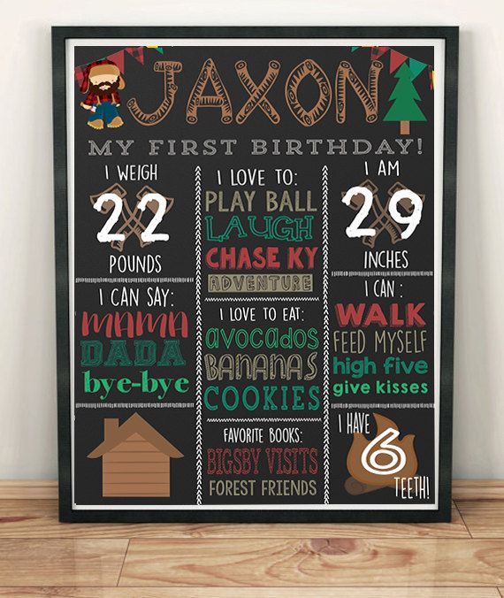 Lumberjack Birthday Chalkboard Autumn Birthday Ideas WInter Birthday Ideas Cottage Birthday Theme