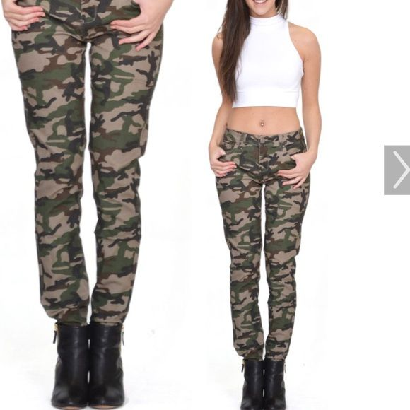 """Camouflage skinny jeans Green camouflage skinny jeans, measurements laying flat rise 7"""", thigh 9"""", inseam 28"""", waist 14.5"""", total length 36"""" Zanadi Jeans"""