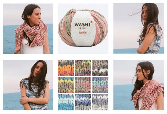 6 patronen voor het breien en haken met Katia Washi en Washi Print met het tie-dye effect, dé trend voor deze zomer