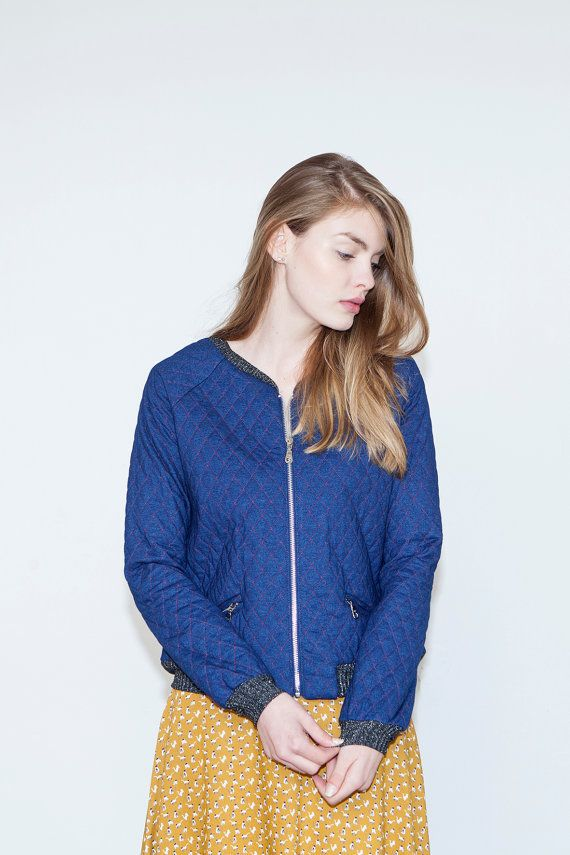 Blue jeans quilt jacket Zipper short jacket Boho by KerenMualem