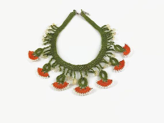 Carnation Necklace Crochet Clove Flower  Necklace by Nakkashe