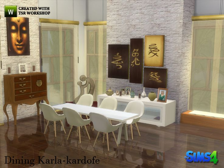 Dining Furniture Design Combining With Other More Classic Oriental Inspiration Found In TSR Category Sims 4 Room Sets