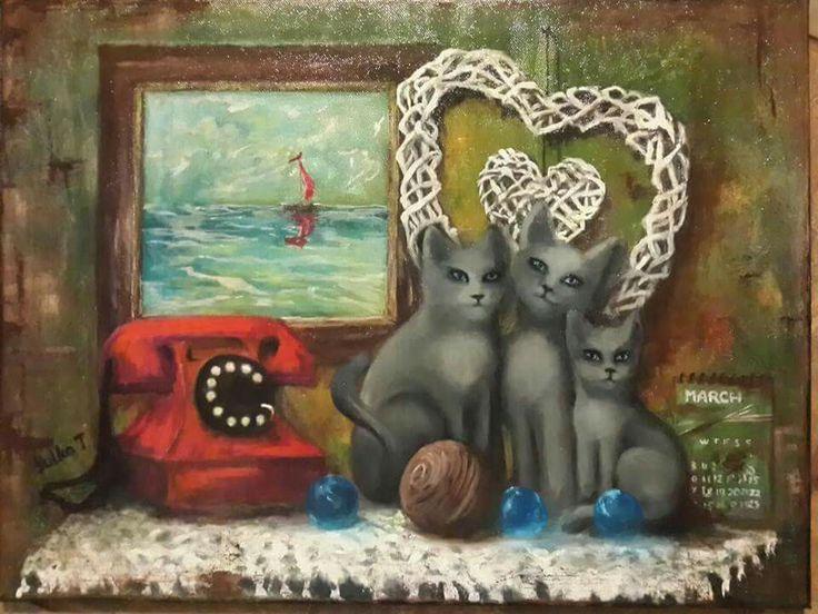cat cat's oil painting telephone picture