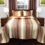 Striped Cocolate and Taupe Metallic Queen 3-Piece Comforter Set, Chocolate And Taupe