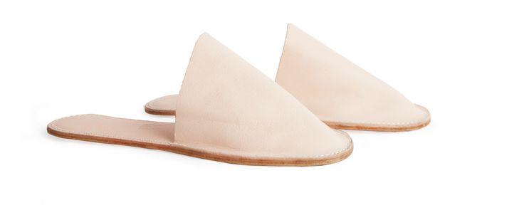 Women's Slide-On Leather Slippers (Natural) - Kaufmann Mercantile