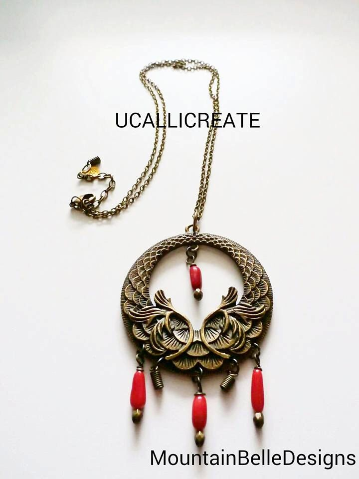 A personal favorite from my Etsy shop https://www.etsy.com/listing/250987462/wind-chime-necklace-handmade-red-coral
