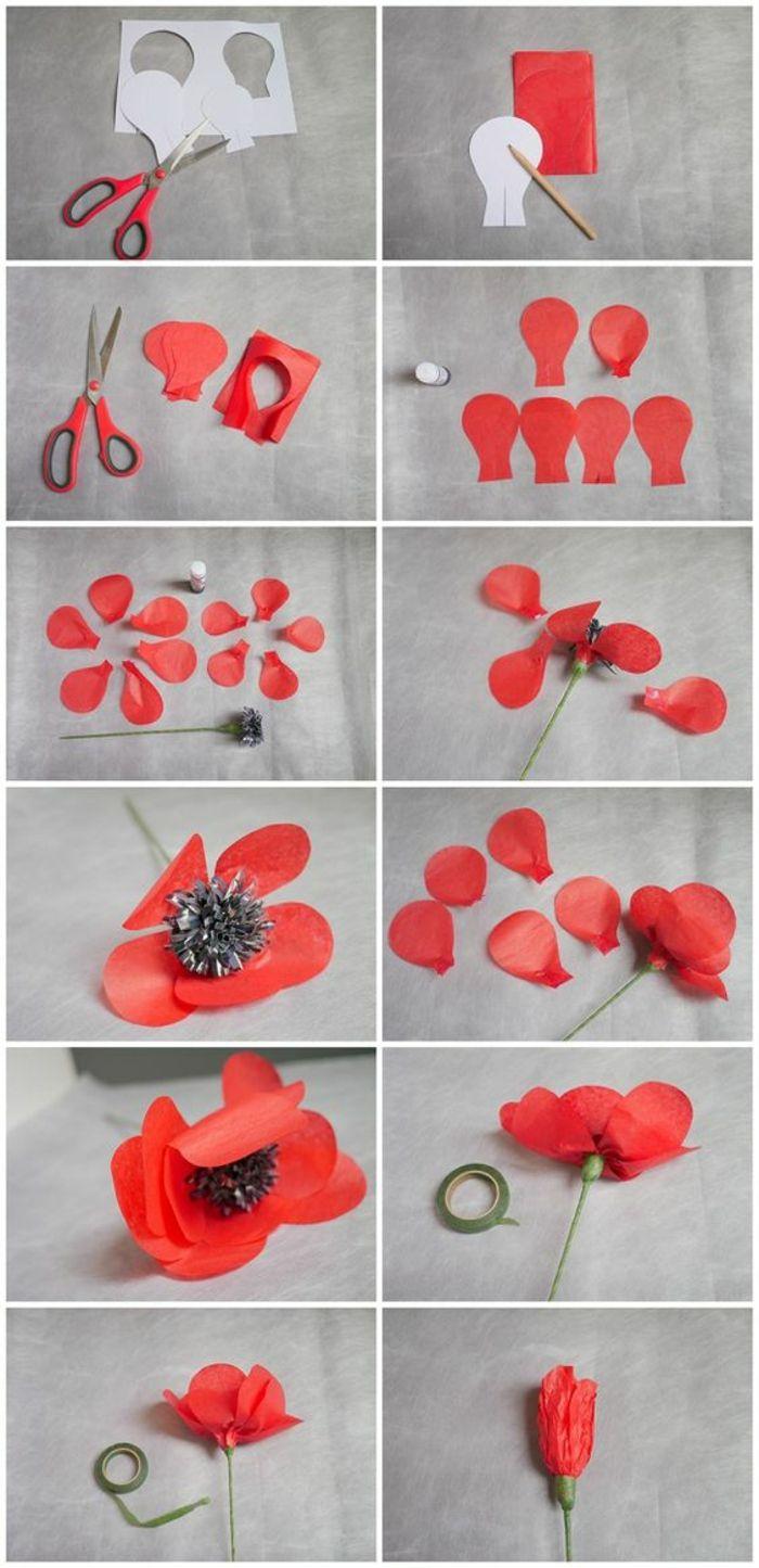 Bastelideen Mit Papier Schere Rotes Papier Blumenblatter Grunes Klebeband Mohn Mohnblume Blumen Basteln Aus Papier Blumen Basteln Papierblumen Basteln