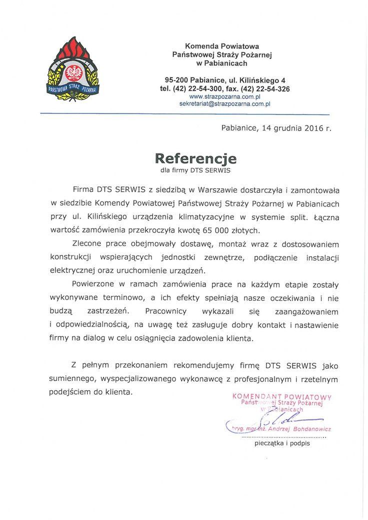 Referencje Państwowa Straż Pożarna - Pabianice