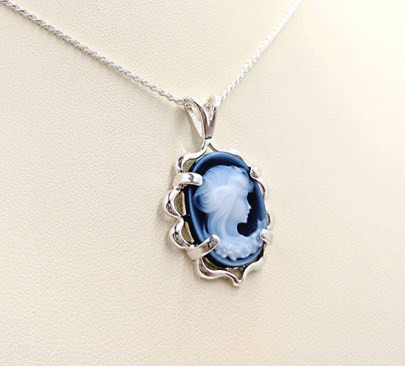 Victorian Cameo Genuine Agate Cameo Necklace Blue Woman Etsy Jewelry For Her Cameo Jewelry Cameo Necklace