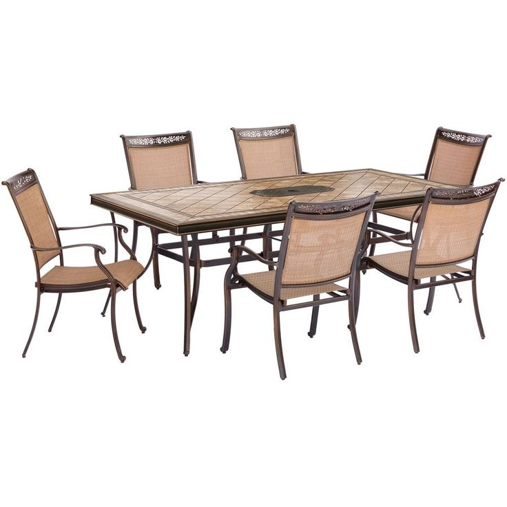 """Hanover 7pc Dining Set: 6 Sling Dining Chairs, 40x68"""" Tile Top Dining Table"""