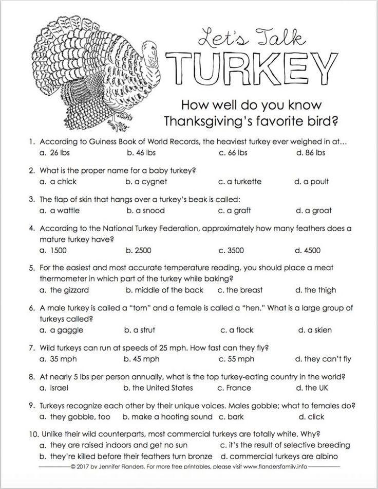 Thanksgiving Trivia Quiz Free Printable Thanksgiving