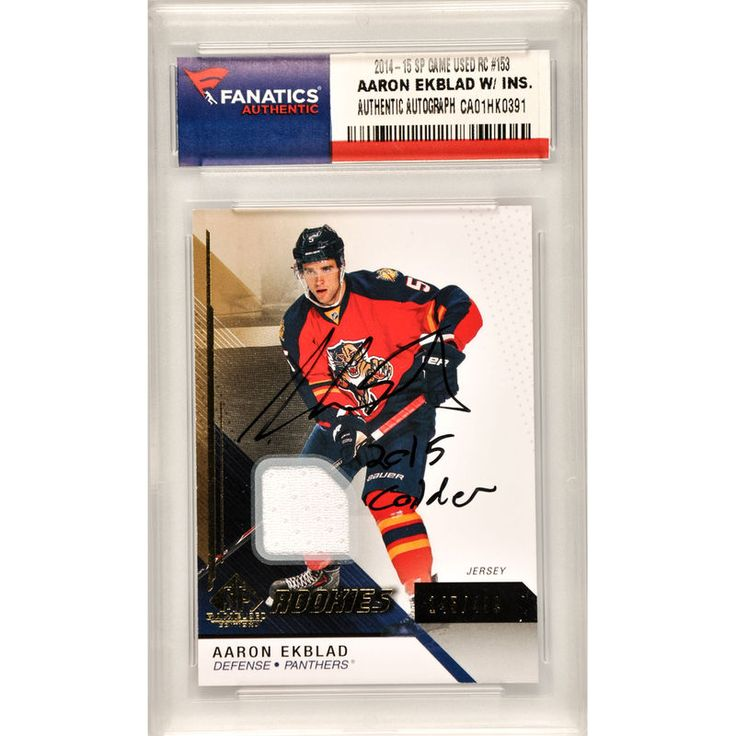 Aaron Ekblad Florida Panthers Fanatics Authentic Autographed 2014-15 Upper Deck SP Game Used Hockey Rookie #153 Card with 2015 Calder Inscription and Containing a Piece of Event Used Material- Limited Edition of 499