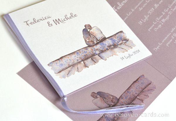 Lovers ... Wedding Card by e-MoVeo Cards Invito matrimonio Hochzeitseinladung #acquarello #Aquerell www.emoveo-cards.com