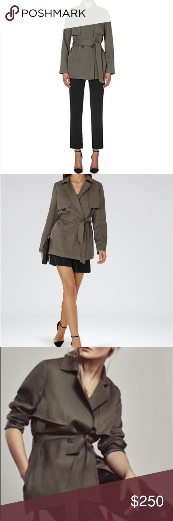 Reiss short trench coat olive color pine/olive color trench coat; Reiss Jackets & Coats Trench Coats